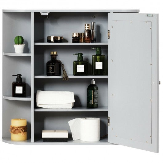 Multipurpose Mount Wall Surface Bathroom Storage Cabinet with Mirror-Gray