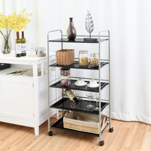 5 Tiers Shelving Display Rack Rolling Cart