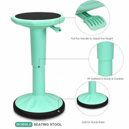 Adjustable Active Learning Stool Sitting Home Office Wobble Chair -Green