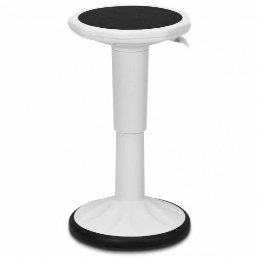 Adjustable Active Learning Stool Sitting Home Office Wobble Chair -White