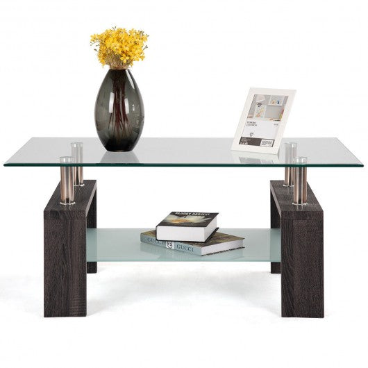 Rectangular Tempered Glass Coffee Table with Shelf-Black