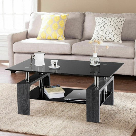 Rectangular Tempered Glass Coffee Table with Shelf-Gray