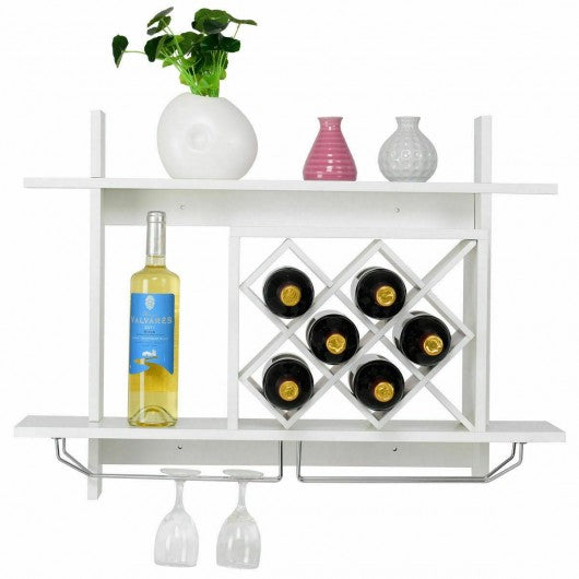 Wall Mount Wine Rack w- Glass Holder & Storage Shelf