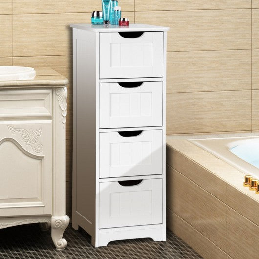 Bathroom Wooden Free Standing Storage Side Floor Cabinet Organizer-4-Tier