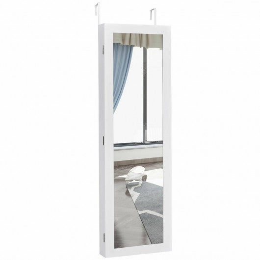 Wall Door Mounted Mirrored Jewelry Cabinet Storage Organizer-White