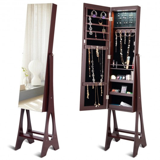 LED Jewelry Cabinet Armoire Organizer with Bevel Edge Mirror-Brown