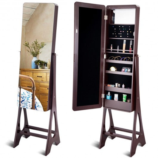 Standing Armoire Organizer  Jewelry Cabinet w- LED -Brown