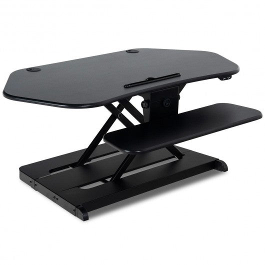 Electric Height Adjustable Sit-Stand Converter Standing Desk-Black