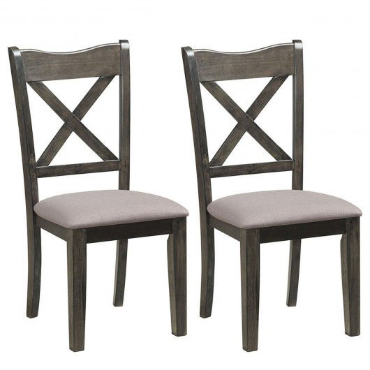 Set of 2 Dining Chair Rubber Wooden Cushioned Seat