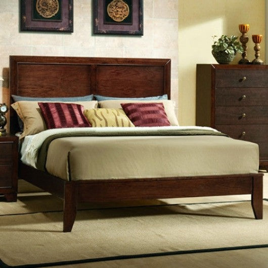 Home Bed Frame with Platform Wood Slats Tall Headboard-Queen Size