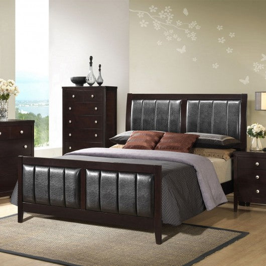 Tall Headboard Upholstered Platform Bed Frame-King Size