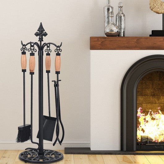 5 Pieces Fireplace Iron Tools Set