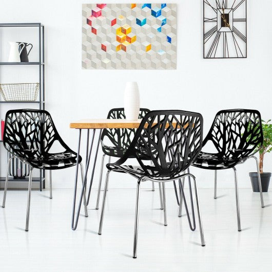 Set of 4 Dining Birch Sapling Accent Armless Chairs-Black