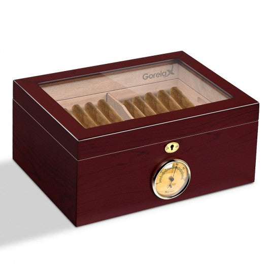 Lockable Cigar Humidor Desktop Glasstop Humidifier Hygrometer-A