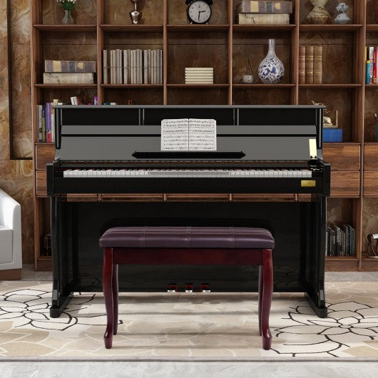 Solid Wood PU Leather Piano Bench with Storage-Brown