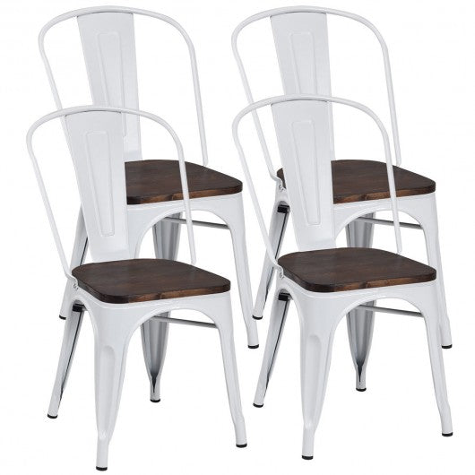 4 pcs Tolix Style Metal Dining Side Chair Stackable Wood Seat-White