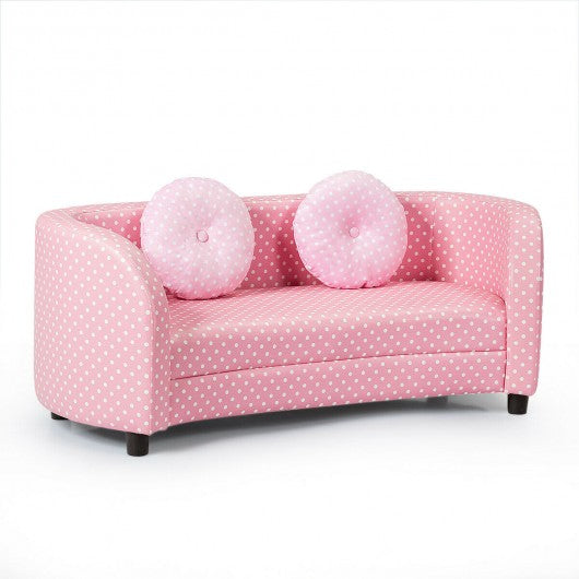 2 Seat Kids Sofa Armrest Chair with Two Cloth Pillows