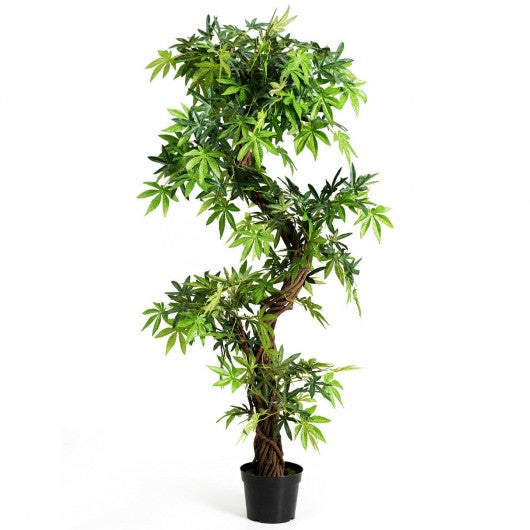 5-Feet Artificial Keel Red VineGreen Leaves Bonsai