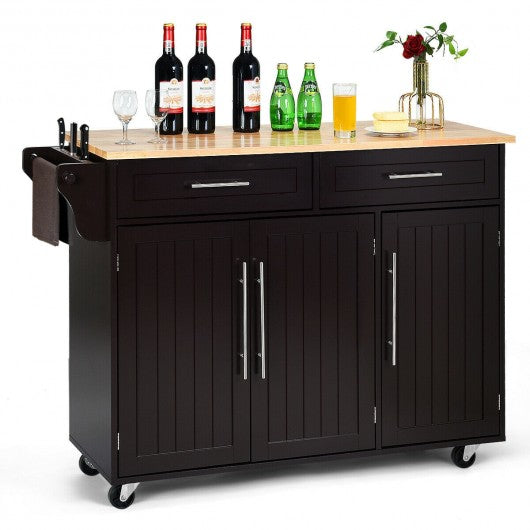 Kitchen Island Trolley Cart Wood Top Rolling Storage Cabinet-Brown