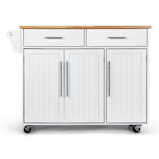Kitchen Island Trolley Cart Wood Top Rolling Storage Cabinet-White
