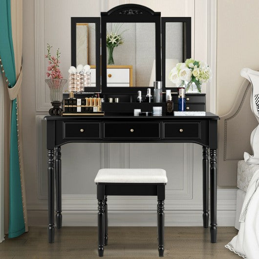 Vanity Tri-Folding Necklace Hooked Mirror Dressing Table Set with 7 Drawers-Black