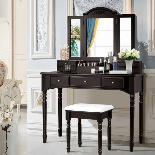 Vanity Tri-Folding Necklace Hooked Mirror Dressing Table Set with 7 Drawers-Coffee