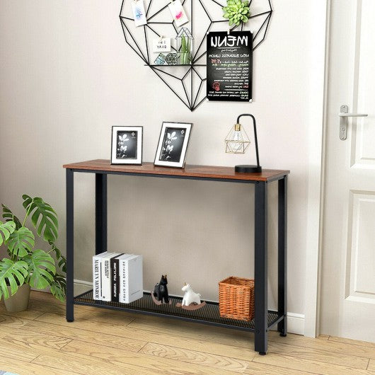 Metal Frame Wood  Console Sofa Table with Storage Shelf-Brown
