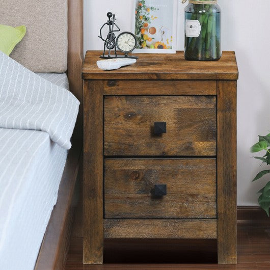 Wood 2 Storage Sliding Drawers End Nightstand-Oak