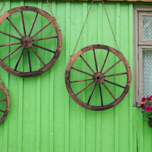 Set of 2 30-inch Decorative Vintage Wood Wagon Wheel