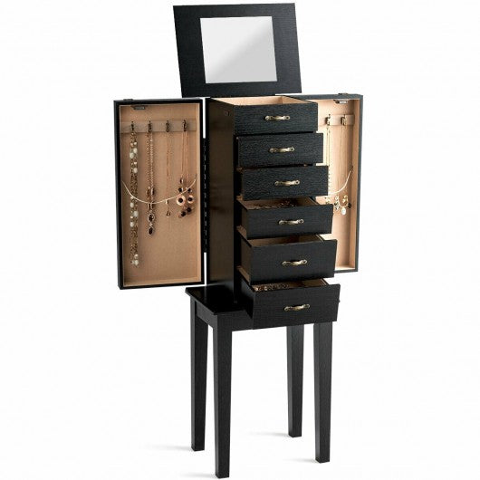 Standing Jewelry Armoire Chest Storage Cabinet with Mirror