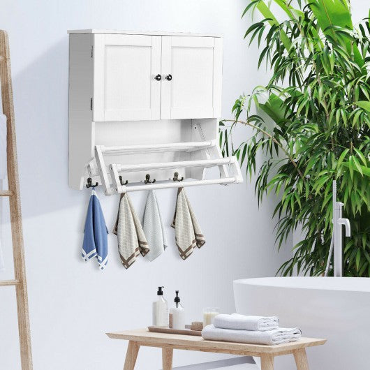 Bathroom Wall Cabinet with Stretchable Shelf Storage Pine Rack