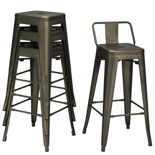 "30"" Set of 4 Metal Height Barstools with Low Back-Gun"