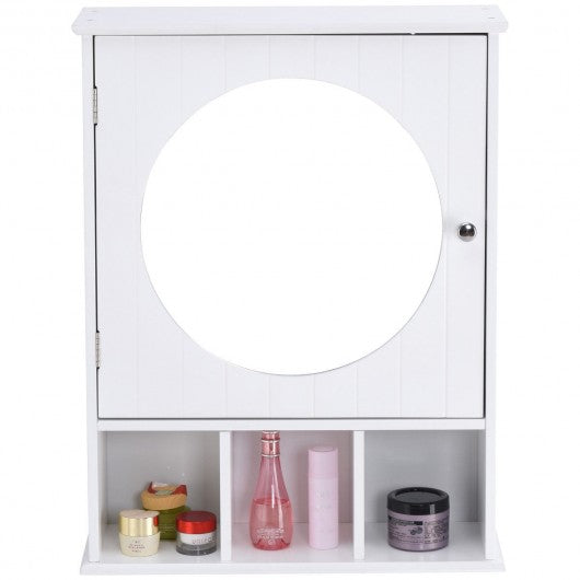 Bathroom Wall Mount Storage Wood Shelf Mirror Door Cabinet