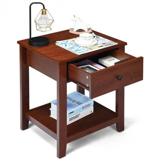 Night Stand End Side Table with Drawer and Storage Shelf