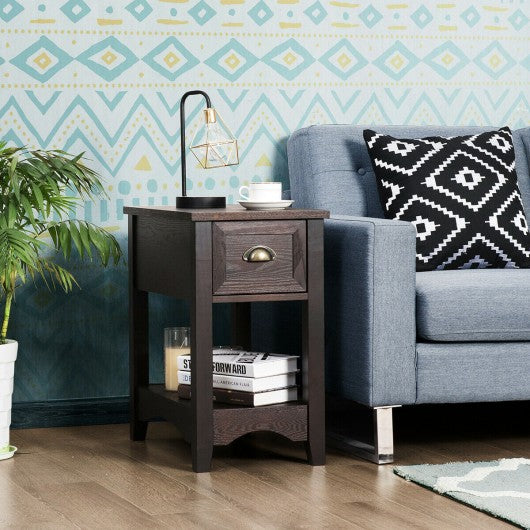 Contemporary Chair Side End Table Compact Table with Drawer Nightstand-Coffee
