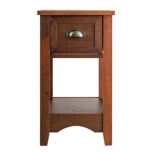Contemporary Chair Side End Table Compact Table with Drawer Nightstand-Wood