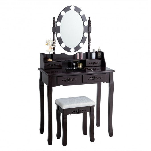 4 Drawers Vanity Table Dressing Table with Touch Switch-Brown