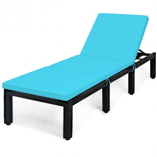 Patio Rattan Cushioned Height Adjustable Lounge Chair-Blue