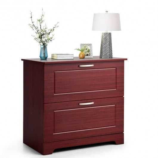 2-Drawer Lateral File Cabinet w- Adjustable Pole-Brown