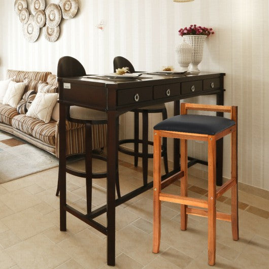 Set of 2 Acacia Solid Wood Counter Height Bar Stool