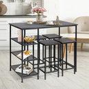 Industrial Dining Bar Pub Table with Metal Frame & Storage Shelves