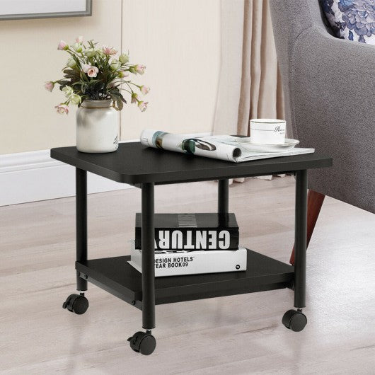 Under Desk Printer Stand with 360° Swivel Casters-Black