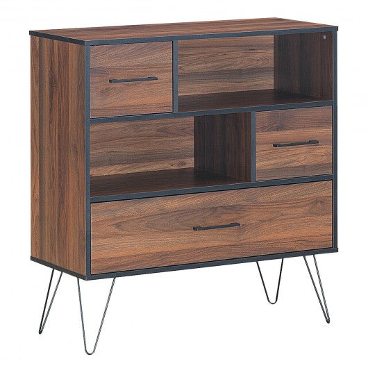 Multipurpose Sideboard Storage Cabinet with Metal Leg & Drawers
