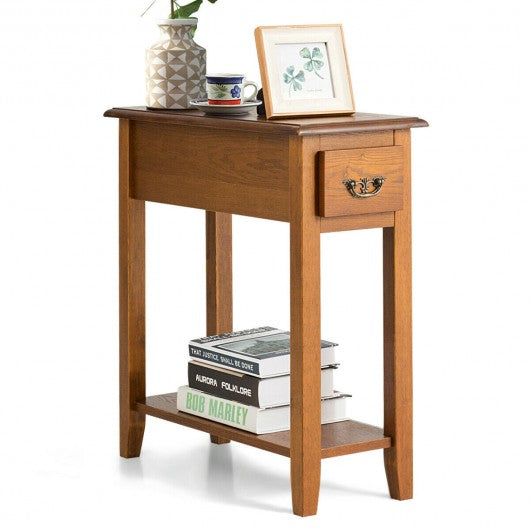 End Table Bedside Sofa End Table Narrow Nightstand with Wooden Legs