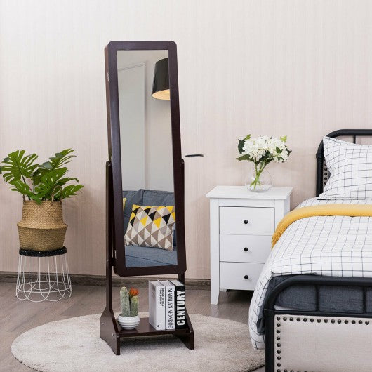 Standing Jewelry Cabinet with Full-length Mirror-Coffee