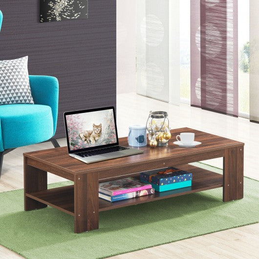 "47"" 2-Tier Rectangular Coffee Table with Storage Shelf-Walnut"