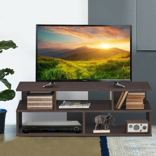 Entertainment Media Center TV Stand with Storage Shelves-Brown