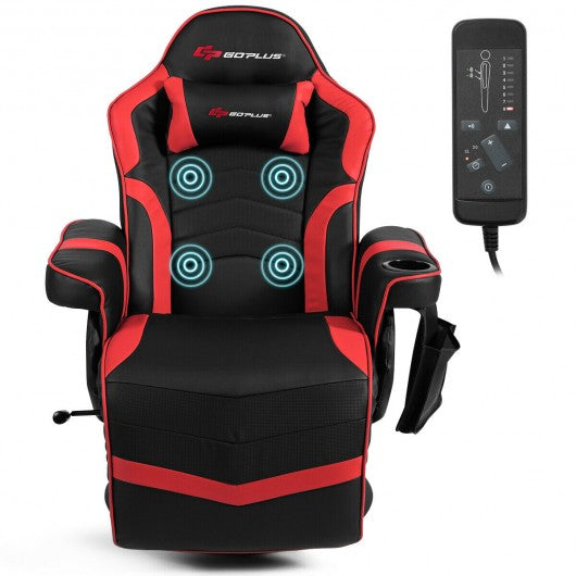 Ergonomic High Back Massage Gaming Chair with Pillow-Red