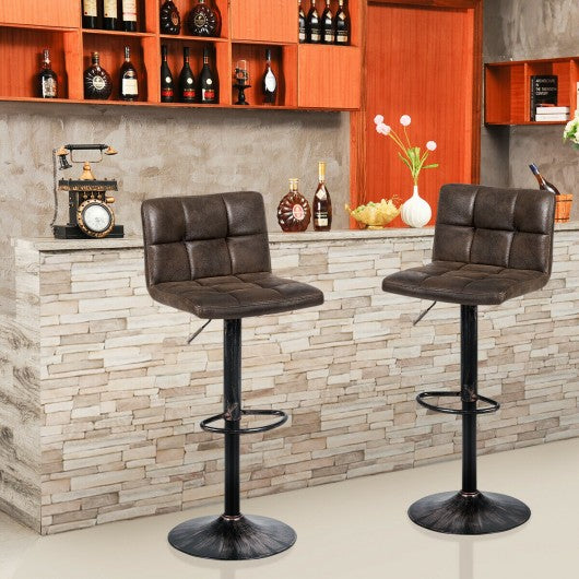 Set of 2 Adjustable Swivel Counter Chairs with Footrest and Back Base