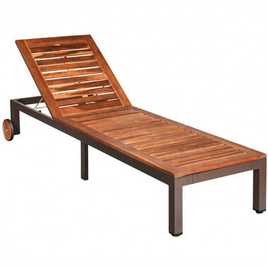 Patio Acacia Wood Lounge Chair Chaise Recliner